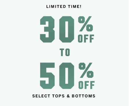 30% Off to 50% Off Select Tops & Bottoms from Victoria's Secret