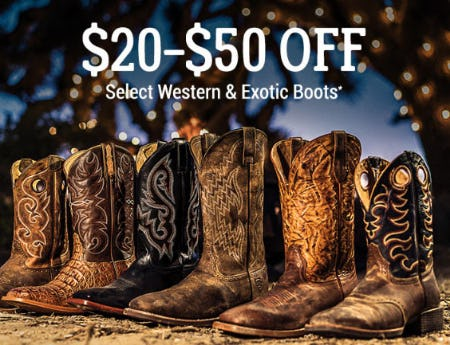 $20-$50 Off Select Western & Exotic Boots from Boot Barn Western And Work Wear