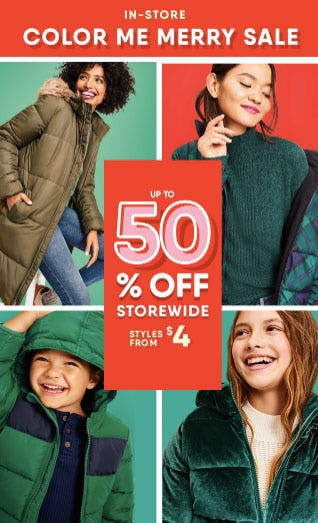 Up to 50% Off Color Me Merry Sale from Old Navy