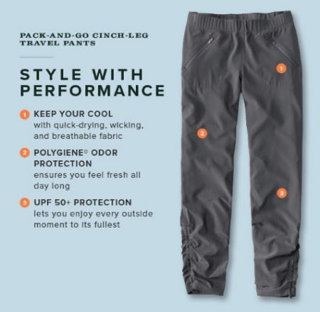 Pack and Go Cinch Leg Travel Pants