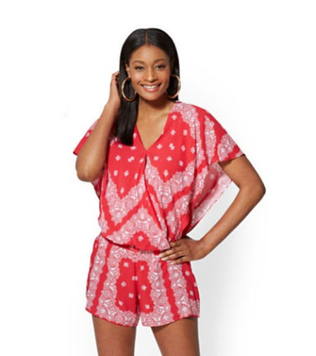 Red Bandanna-Print Flutter-Sleeve Blouse from New York & Company