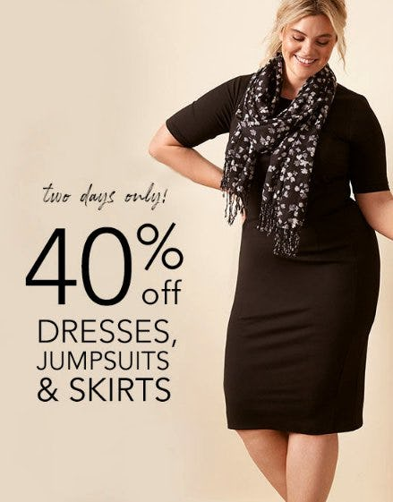 40% Off Dresses, Jumpsuits & Skirts