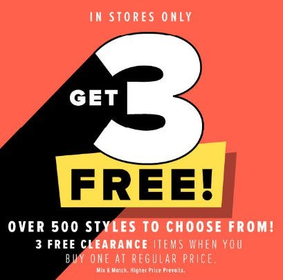 Get 3 Free Clearance Items