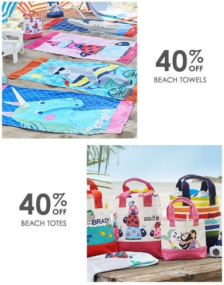 40% Off Beach Towels & Beach Totes from Pottery Barn Kids