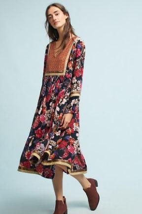 Trimmed Peasant Dress
