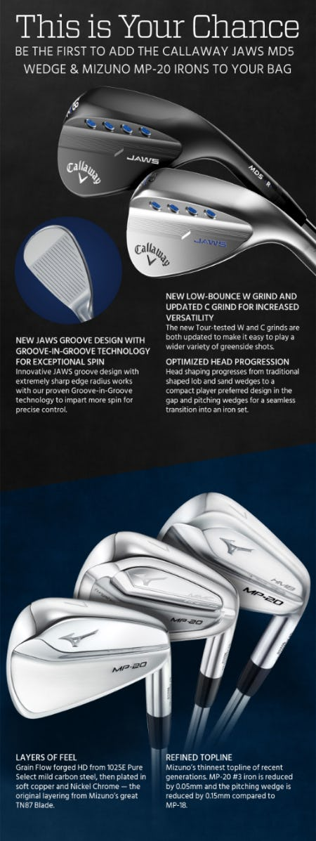 New Callaway JAWS MD5 Wedge & Mizuno MP-20 Irons from Golf Galaxy