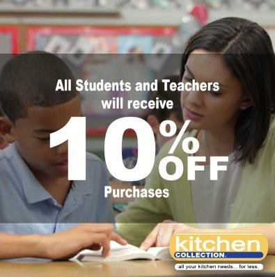 All Students and Teachers Will Receive 10% Off Purchases from Kitchen Collection