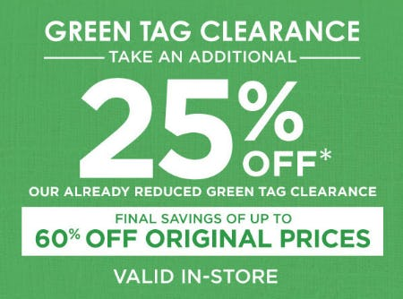 Extra 25% Off Green Tag Clearance
