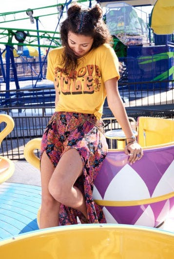 Ellie Retro Print Slit-Front Pants from Earthbound Trading Company