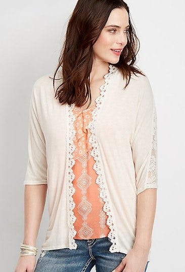 Lace Yoke Cardigan from maurices