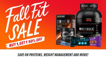 Buy 1, Get 1 50% Off Proteins, Weight Management and More from GNC