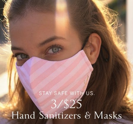 3 for $25 Hand Sanitizers and Masks from Victoria's Secret