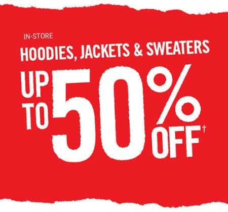 Up to 50% Off Hoodies, Jackets & Sweaters