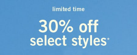 30% Off Select Styles from Abercrombie & Fitch