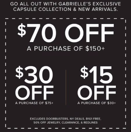 $70 Off A Purchase of $150 or More