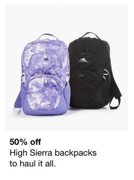 50% Off High Sierra Backpacks from macy's