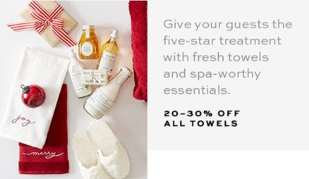 20-30% Off All Towels from Pottery Barn