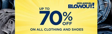 Up to 70% Off on All Clothing & Shoes
