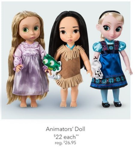 $22 Each Animators' Dolls from Disney Store