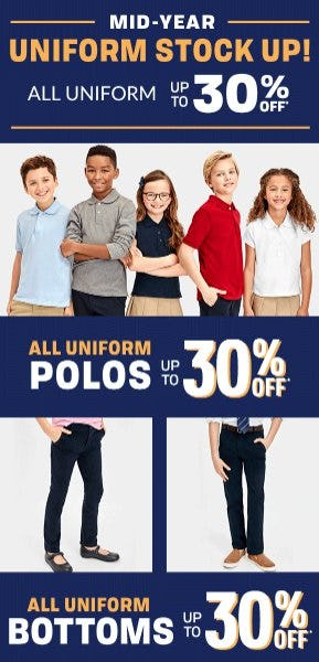 All Uniform up to 30% Off from The Children's Place Gymboree