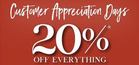 Customer Appreciation Days: 20% Off Everything from Marmi