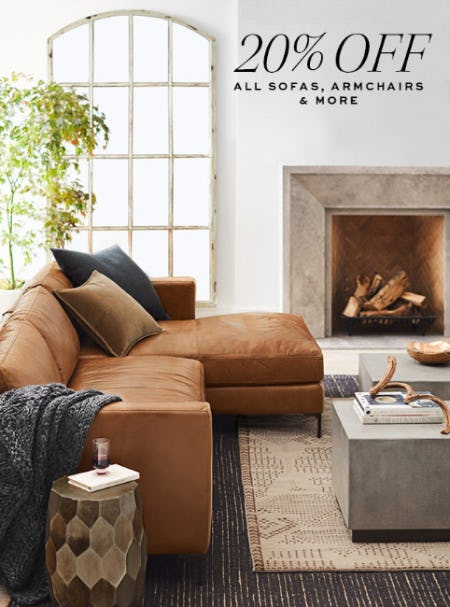 20% Off All Sofas, Armchairs from Pottery Barn