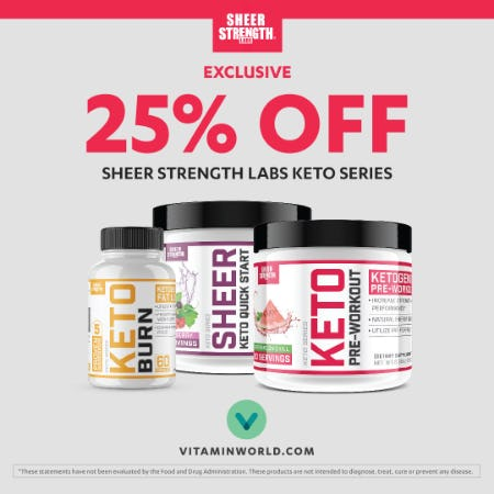25% off Sheer Strength Labs Keto Series from Vitamin World