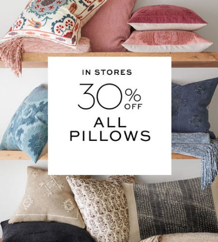 30% Off All Pillows from Pottery Barn