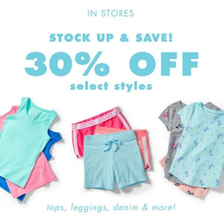 30% Off Select Styles from Justice