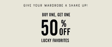 BOGO 50% Off Lucky Favorites from Lucky Brand Jeans
