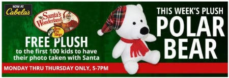 Free Plush to the First 100 Kids to Have their Photo Taken with Santa from Cabela's