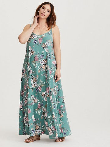 Floral Challis Trapeze Maxi Dress from Torrid