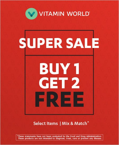 Buy One Get Two Free Mix & Match Select Items from Vitamin World