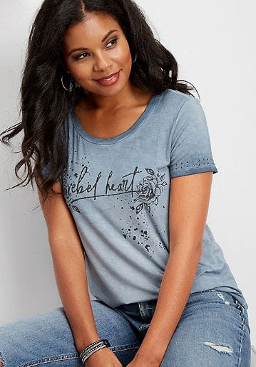 Floral Rebel Heart Graphic Tee