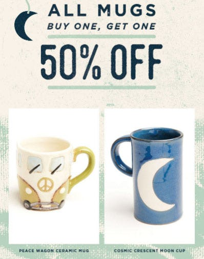 BOGO 50% Off All Mugs from Earthbound Trading Company