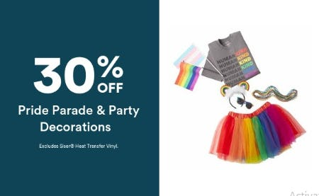 30% Off Pride Parade & Party Decorations from Michaels