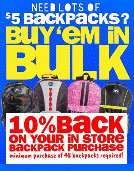 10% Back when You Buy Backpacks in Bulk from Five Below