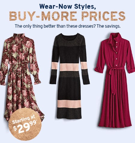 Dresses Starting at $29.99 from Marshalls