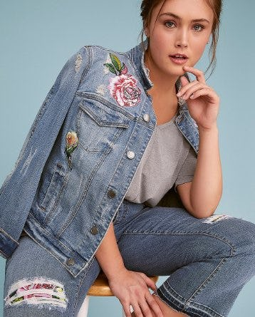 Fast Lane Embroidered Denim Jacket from Lane Bryant