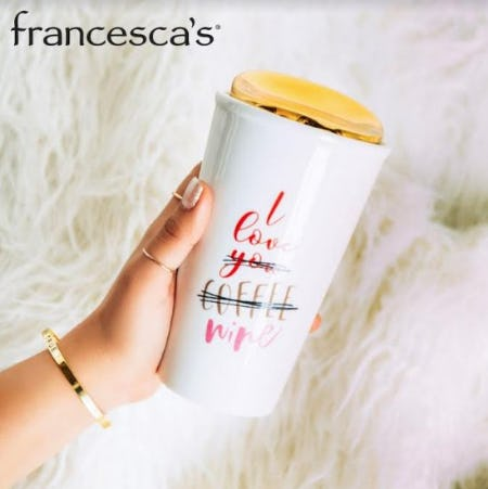 Full Price Drinkware, 30% Off from francesca's