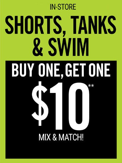 BOGO $10 Shorts, Tanks & Swim from Hot Topic
