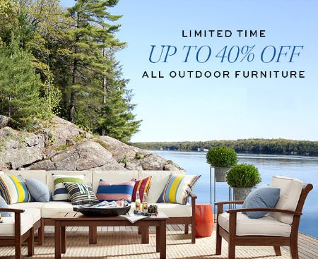 Up to 40% Off All Outdoor Furniture from Pottery Barn