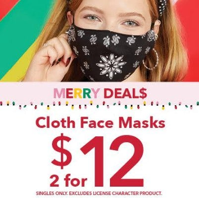 Merry Deals! Cloth Face Masks at Claire's! from Claire's