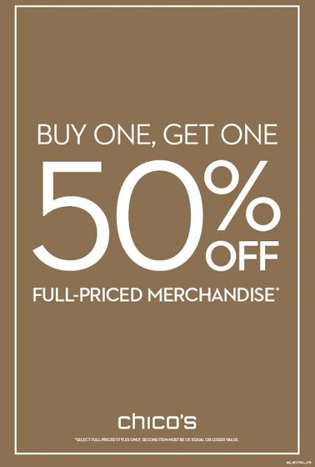 Buy One, Get One 50% off Full-Priced Merchandise from chico's