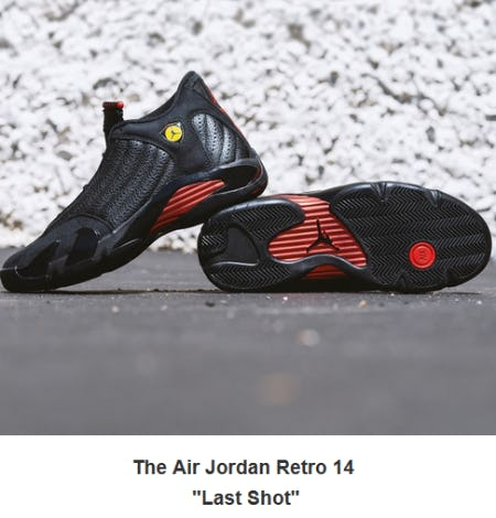 "The Air Jordan Retro 14 ""Last Shot"" from City Gear"