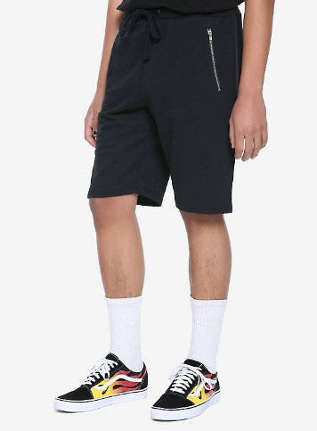 Black Zipper Pocket Shorts from Hot Topic