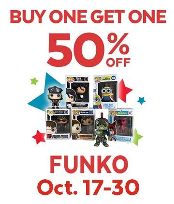 Funko Pops BOGO 50% off from Go! Calendars Games & Toys