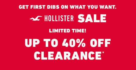Up to 40% Off Clearance from Hollister Co.