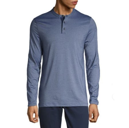 Perry Ellis Striped Long-Sleeve Henley from Lord & Taylor
