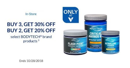 Up to 30% Off Select BodyTech Brand Products from The Vitamin Shoppe